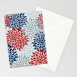 Floral Dahlia Print, Red, Navy, Blue, Gray Stationery Cards