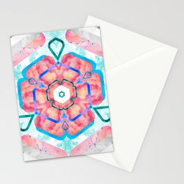 Blue Pink Viola Hybrid Flower Abstract Art Watercolor Stationery Cards