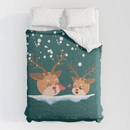 Christmas reindeer and falling snow Comforters