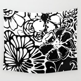 Black & White Floral Zentangle Doodle Design Wall Tapestry