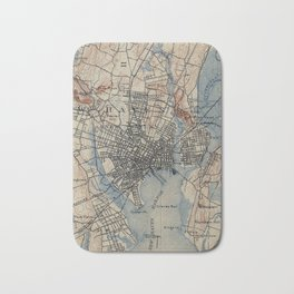 Vintage Map of New Haven Connecticut (1890) Bath Mat
