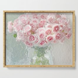 Impressionistic Shabby Chic Cottage Watercolor Pink Roses Still Life Flowers Serving Tray