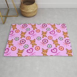 Funny red-nosed baby reindeer, vintage retro candy lollipops. Pink cute Christmas December pattern Rug