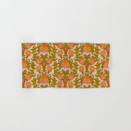 Orange, Pink Flowers and Green Leaves 1960s Retro Vintage Pattern Hand & Bath Towel