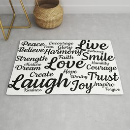 Motivational Words and Sayings Live Laugh Love Rug