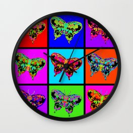Psychedelic Butterflies Mosaic Wall Clock