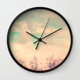 Spring Daydream (Dusty Pink Flowers, Mint Green Sky) Wall Clock