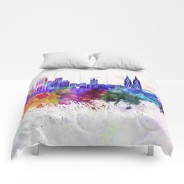 Cologne skyline in watercolor background Comforters