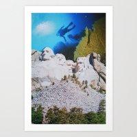 rushmore Art Prints featuring Mount Rushmore by John Turck
