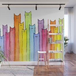 Rainbow of Cats Funny Whimsical Colorful Cat Animals Wall Mural