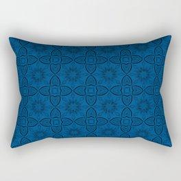 Lapis Blue Flowers and Hearts Rectangular Pillow