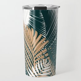Gold and Green Palm Leaves Travel Mug