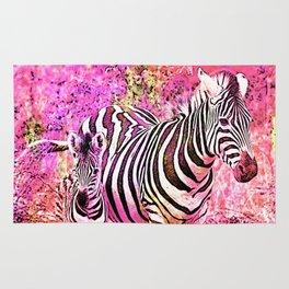 Crazy Zebras Artsy Mixed Media Art Rug