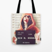 red hood Tote Bags featuring Red Riding Hood by adroverart