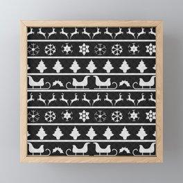 Black & White Ugly Sweater Nordic Knit Framed Mini Art Print