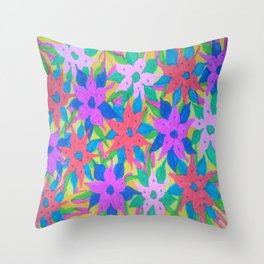 Tropical Rain Flowers Throw Pillow