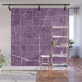 Fort Lauderdale Map, USA - Purple Wall Mural
