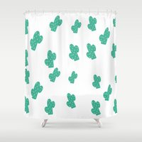 cacti Shower Curtains featuring Cacti by Hello Lidy