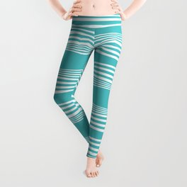 wavy stripes in aqua Leggings