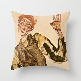 Egon Schiele - Self Portrait With Striped Armlets Throw Pillow