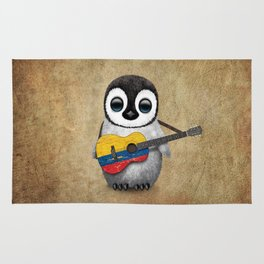 Baby Penguin Playing Colombian Flag Acoustic Guitar Rug