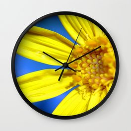 Sunflower against a Bright Blue Sky Wall Clock