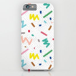 Memphis Pattern Stripes Zigzag and Blobs iPhone Case