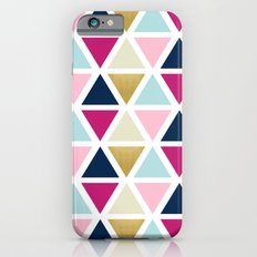 Triangle Geometry, Gold, Navy blue and Pink Slim Case iPhone 6s