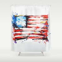 american flag Shower Curtains featuring American Flag by Larissa Ria Loomans