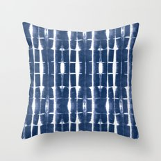 Shibori Stripes 3 Indigo Blue Throw Pillow