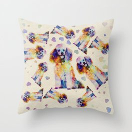 Color splash poodle dog on canvas Throw Pillow