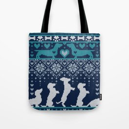 Fair Isle Knitting Doxie Love // navy blue background white and teal dachshunds dogs bones paws and hearts Tote Bag