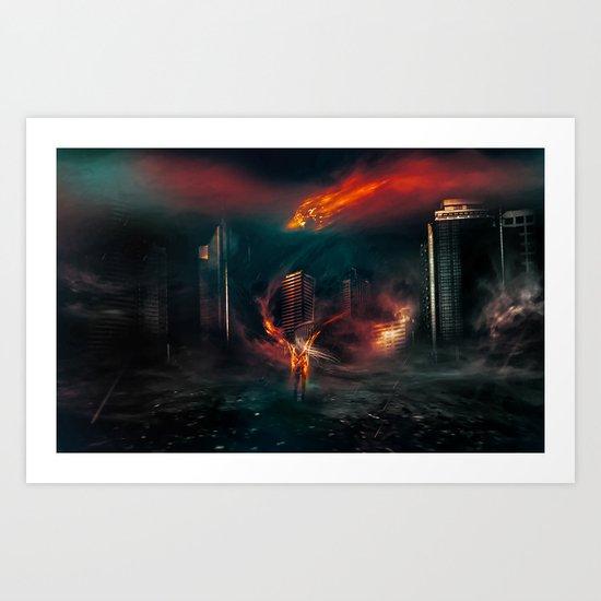 city on fire Art Print