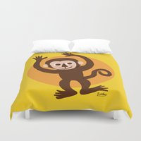 monkey Duvet Covers featuring Monkey by BATKEI