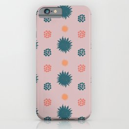 Sunny pattern with green and old pink iPhone Case