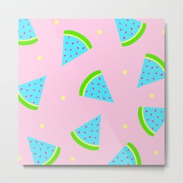 Watermelon in Pastel Neon | Watermelon Seed | Watermelon Home Decor | pulps of wood Metal Print