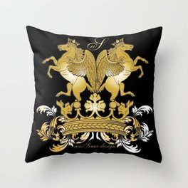 The Royal Horses (Black) Collection Throw Pillow