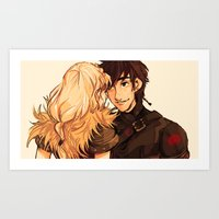 hiccup Art Prints featuring Hiccup and Astrid by kirza
