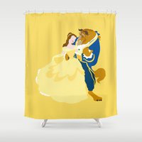beauty and the beast Shower Curtains featuring beauty and the beast by Live It Up