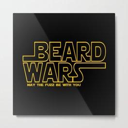 Beard Wars Funny Sci-Fi Design Metal Print