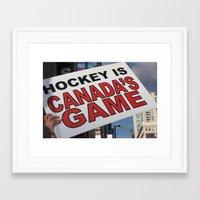 hockey Framed Art Prints featuring Hockey by Citra Photography