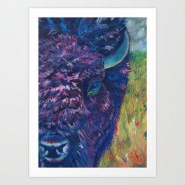 A Technicolor Bison Art Print