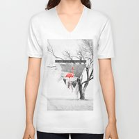 flamingo V-neck T-shirts featuring Flamingo by Mehdi Elkorchi