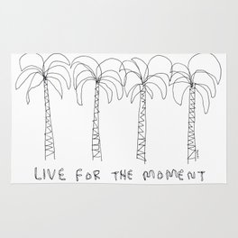 Palm Tree Illustration Summer Tropical Black and White - Live For The Moment no.2 Rug