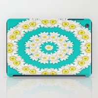 coasters iPad Cases featuring White Daisies on Turquoise Background by Lena Photo Art