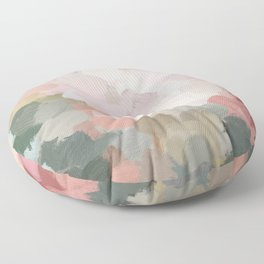 Forest Green Fuchsia Blush Pink Abstract Flower Spring Painting Art Floor Pillow