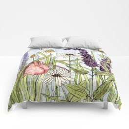 Lady Slipper Orchid Woodland Wildflower Watercolor Comforters