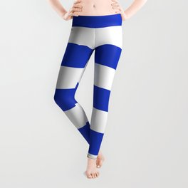 Persian blue - solid color - white stripes pattern Leggings