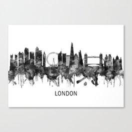 London England Skyline BW Canvas Print