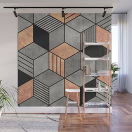 Concrete and Copper Cubes 2 Wall Mural